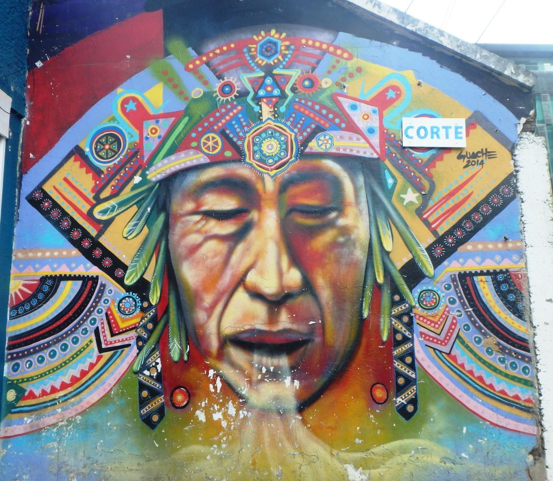 Street art graffiti à Bogota, Colombie, à Las Aguas. Amérique du sud, latine, accent colombien, bogotanais
