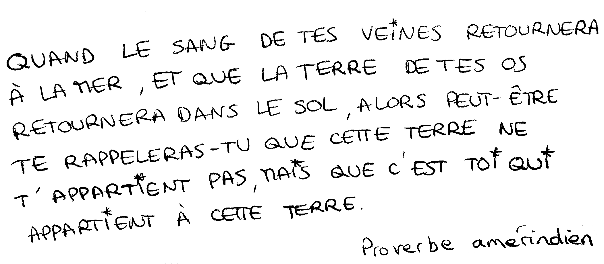 proverbe améridien nature