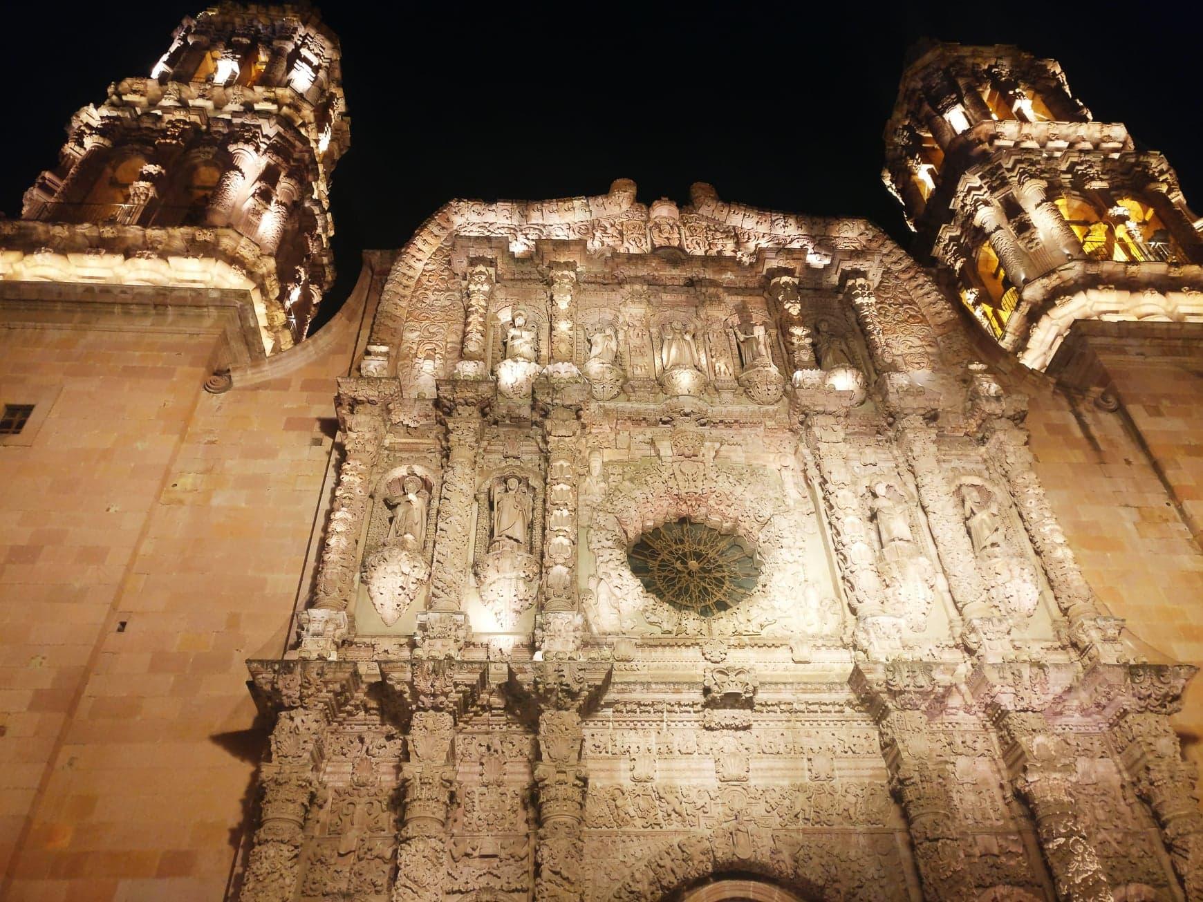 cathédrale zacatecas nuit mexique
